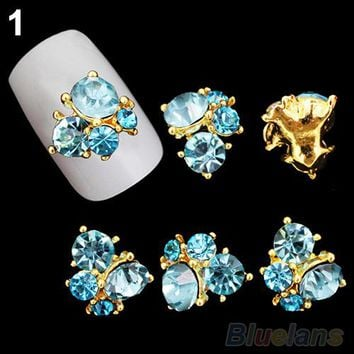 Gold and Blue Crystal 3D Nail Decor - 10 Pack