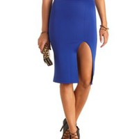 High-Waisted Slit Bodycon Midi Skirt by Charlotte Russe - Cobalt