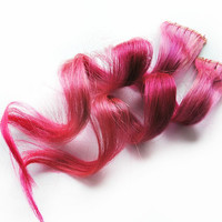 Human Hair Extension, Spring extension hair, extension, pink clip in hair, Tie Dye Colored Hair - Creamsicle