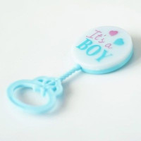 6 Blue It's a Boy Baby Rattle Party Favor Baby shower Gender reveal Accessory