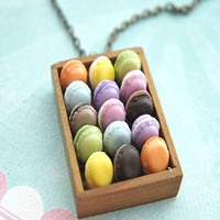 french macaron tray necklace