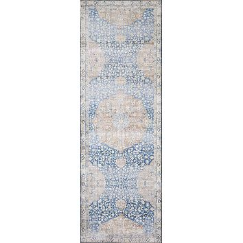 Loloi ll Layla Collection Printed Vintage Persian Area Rug 20 x 50 Blue/Tang