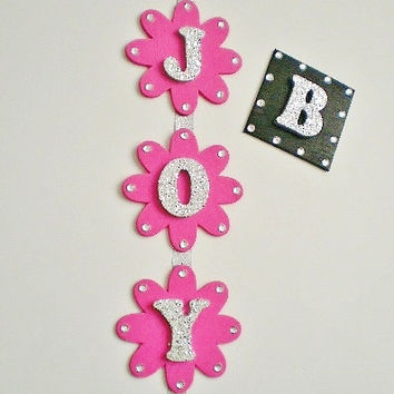 HANGING GLITTER & BLING Letters - Decorative Vertical Hanging Wall Letters w/ Clear Rinestones in Square or Flower Shape