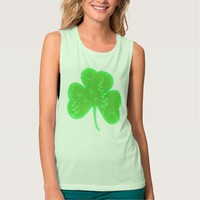 Floral Vintage Shamrock Muted Green Flowy Muscle Tank Top