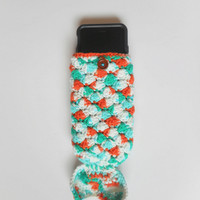 Cotton Mermaid Tail iPhone 6 Cozy in Turquoise and Tangerine, Crochet Slip Cover, ready to ship.