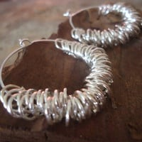 RINGED CREOLS silver plated earrings with rings by AsaiBolivien