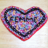 Femme patch. Feminist patch, pro gay pride patch. Perfect for lesbians, bisexual and pan women who are femme and awesome. Liberty of London.