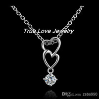 High quality 925 sterling silver double heart pendant necklace with zircon fashion jewelry beautiful classic wedding gift free shipping