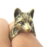 3D Unisex Wolf Face Shaped Animal Ring in Brass | US Size 6 to 10