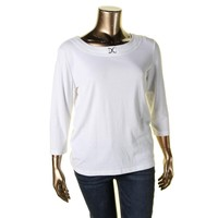 Karen Scott Womens Embellished Scoop Neck Pullover Top