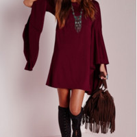 Trumpet Sleeve Tunic Dress