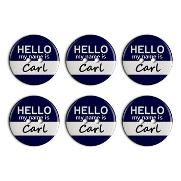 Carl Hello My Name Is Plastic Resin Button Set of 6