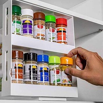 2 Layer Rotating Kitchen Spices Jar Bottle Storage