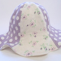 Purple flower sun hat, polka dot beach hat, girl summer hat, 6-12m / 12-24m