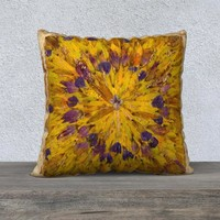 22x22 Pillow Cover Sunburst! Tie Dye Geometric Design Pillow Case - Yellow Purple Pillow Cover - Boho Home Decor - Abstract Pillowcase
