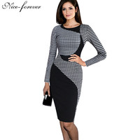 Fashion Vintage dress office Color block Round Neck Short/Long Sleeve Patchwork bodycon Tunic formal work Knee Length Dress b61