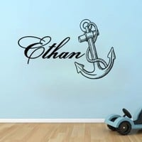 Wall Decals Custom Personalized Name Decal Anchor Vinyl Sticker Boy Bedroom Nursery Baby Room Home Decor Ms438