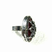 Gift for Her, Ruby Stone Oval Shape Silver Tone Adjustable Ring Evening Cocktail Fashion Jewelry