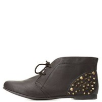 Qupid Spiked Lace-Up Ankle Booties by