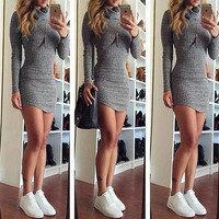 FASHION HIGH COLLAR KNIT DRESS