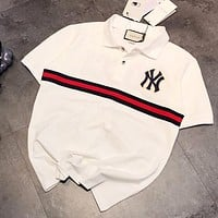 GUCCI x NY Hot Sale Men Women Casual Stripe Short Sleeve Lapel T-Shirt Top