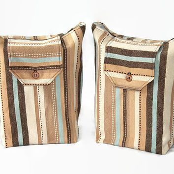 Reusable Gift Bags Striped Tan Cream Blue Chocolate Brown Summer Gift Wrap Baby Shower Beach Colors (set of 2) --US Shipping Included