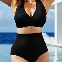 Sexy Solid Color High-waisted Halter Bikini Swimsuit Plus Size Swimwear