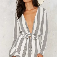 The Black Stripes Plunging Romper
