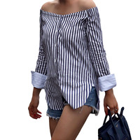 2017 Summer Women Striped Shirt Sexy Off the Shoulder Top Cotton Long Sleeve Female Blouse Top Vintage Blue Blusas Ropa Mujer