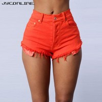 JYConline Denim Shorts Women 2017 Casual Short Jeans Feminino Sexy Women's Shorts With High Waist Short Pants Jeans For Women