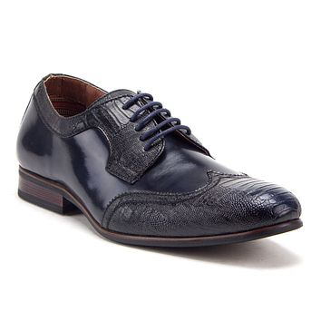Men's Classic Wing Tip Snake Print Lace Up Oxfords Dress Shoes