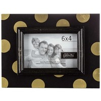 "6"" x 4"" Black & Gold Polka Dot Frame 