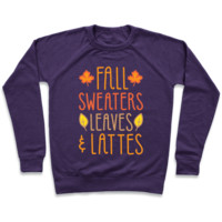 FALL SWEATERS LEAVES & LATTES (WHITE) PULLOVERS