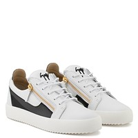 Giuseppe Zanotti Gz Frankie White Calfskin Leather Low-top Sneaker With Black Patent Leather Insert