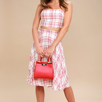 Warm Welcome Red and White Plaid Two-Piece Midi Dress