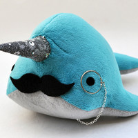Narwhal Plush with Mustache and Monocle
