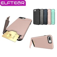 Slim Hybrid Credit Card Case For iPhone 7 7 Plus For iPhone 6 6s Plus Armor Slide Card Slot Pocket Phone Back Cover Fundas Coque