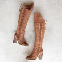 sbicca - gusto - over the knee suede leather boots - tan