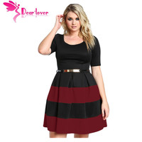 Dear-Lover Office Ladies Dresses Fall Patchwork White Stripes Detail Belted Plus Size Skater Dress Vestido Work Clothing LC22806