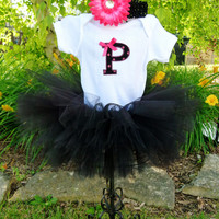 Monogram Baby Tee Tutu Baby Girl Gift Set Hot Pink and Pink With Flower Hairbow