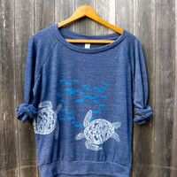 under the deep blue sea Pullover, Sea Turtle Shirt, Slouchy Pullover