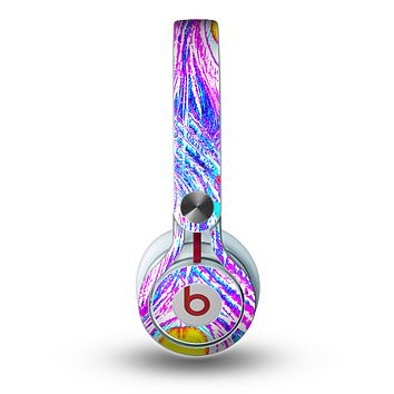 The Neon Pink & Turquoise Peacock Feather Skin for the Beats by Dre Mixr Headphones