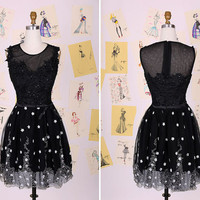 Cute Black and White Beading Lace Appliques Short Party Dress/Knee Length Lace Short Prom Dress/Sweet Prom Dress/Lace Bridesmaid Dress
