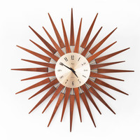 FREE SHIPPING WORLDWIDE - Paico Quartz Sunburst / Starburst Clock, Atomic Mid-Century 1960s