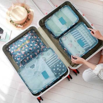 6 Piece Blue Daisy Packing Cube Set