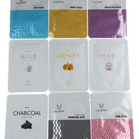 LALAFOX Premium Face Mask Variety Pack - 9 Pack Bundle – Milk, Honey, Honey Polis, Pearl, Pink Pearl, Charcoal, Charcoal Clay, Phyto Collagen & Blue Aqua - Daily Skin Facial Beauty Products