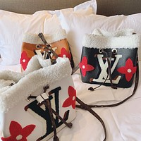 LV Louis Vuitton Women's Color Block Suede Bucket Bag