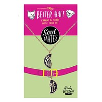 Soul Mates Pet Charm - Matched Set for Human and Dog / Cat, in Enamel and Brass