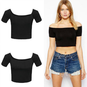 Summer Women's Fashion Sexy Strapless Short Sleeve Slim Crop Top Tops T-shirts [5013430340]