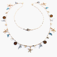 Beaded Sea Shells Long Necklace